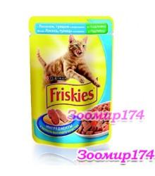 Фрискис корм для кошек с Лососем в подливе  85 гр