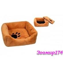 Лежак квадратный пухлый с подушкой 55х55х17 (9313)