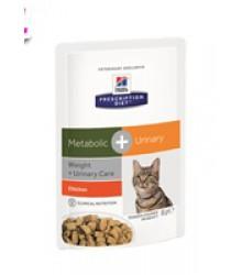 Hill's Prescription Diet Metabolic + Urinary  Weight + Urinary Care влажный корм для кошек с курицей 85 г