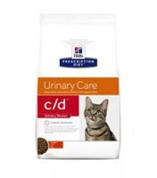 Hill's Prescription Diet c/d Urinary Stress для кошек диета для поддержания здоровья мочевыводящих путей и при стрессе одновременно с курицей .