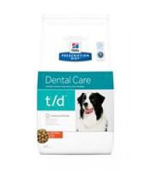 Hill's Prescription Diet t/d Dental Care корм для собак диета для поддержания здоровья ротовой полости с курицей.