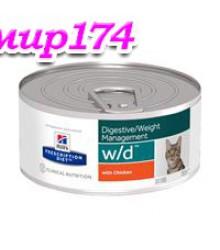 Hill's Prescription Diet w/d Digestive/Weight Management консервы для кошек диета для поддержания оптимального веса и здоровья при сахарном диабете с курицей 156 г