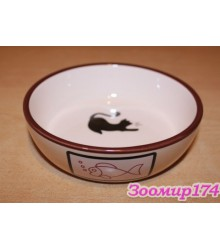 Миска керамическая Кошка для животных 0.33л (HD-P156)
