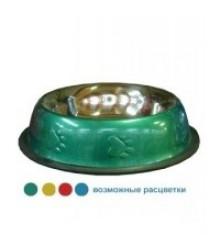 Миска металлическая цветная на резинке    0.18л     360472