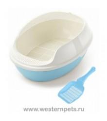 Туалет Для Кошек с Бортиком, Решеткой и Совком C2-MCT/TCLB 50х38х20см