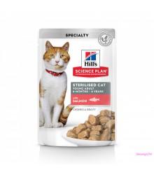 Hill's Science Plan Sterilised Cat влажный корм для кошек и котят от 6 месяцев с лососем 85 г