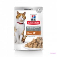Hill's Science Plan Sterilised Cat влажный корм для кошек и котят от 6 месяцев с индейкой 85 г