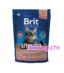 Brit Premium Cat Sterilized корм для кастрированных котов, лосось, курица, печень