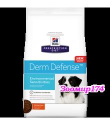 Hill's Prescription Diet Derm Defense  Skin Care корм для собак диета для поддержания здоровья кожи и при аллергии на компоненты окружающей среды с курицей .