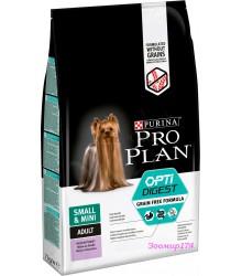 Сухой беззерновой корм Purina Pro Plan Optidigest Grain Free для взрослых собак мелких пород с чувствительным пищеварением с индейкой