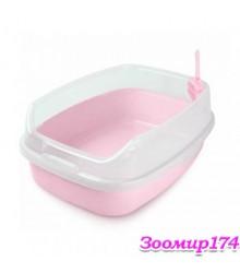 Туалет для кошек с бортиком и совком C3-MCL/XL-DCLB 62х46х25см