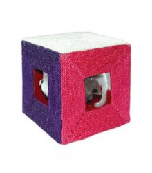 Когтеточка Куб с мышкамисизалевая 20х20х20см ТМ-2052