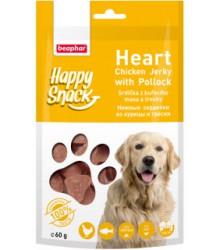 Нежные сердечки из курицы и трески Happy Snack для собак 60 г