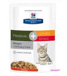 Hill's Prescription Diet Metabolic + Urinary Stress Feline влажный корм для кошек с курицей 85г